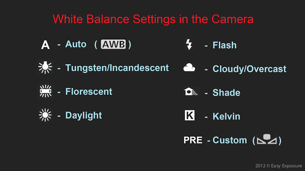 white balance settings in the camera